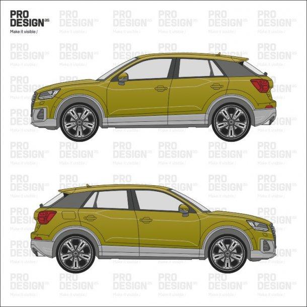 Audi Q2 indpakning i en farve