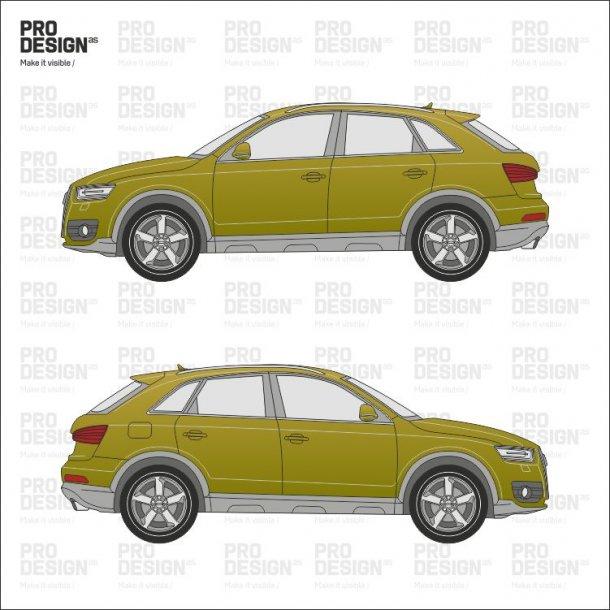 Audi Q3 indpakning i en farve
