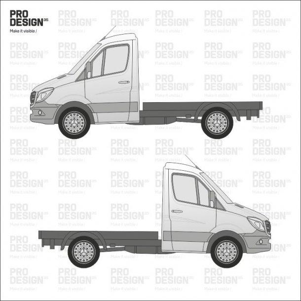 Sprinter enkelt/dobbelt kabine indpakning i en farve